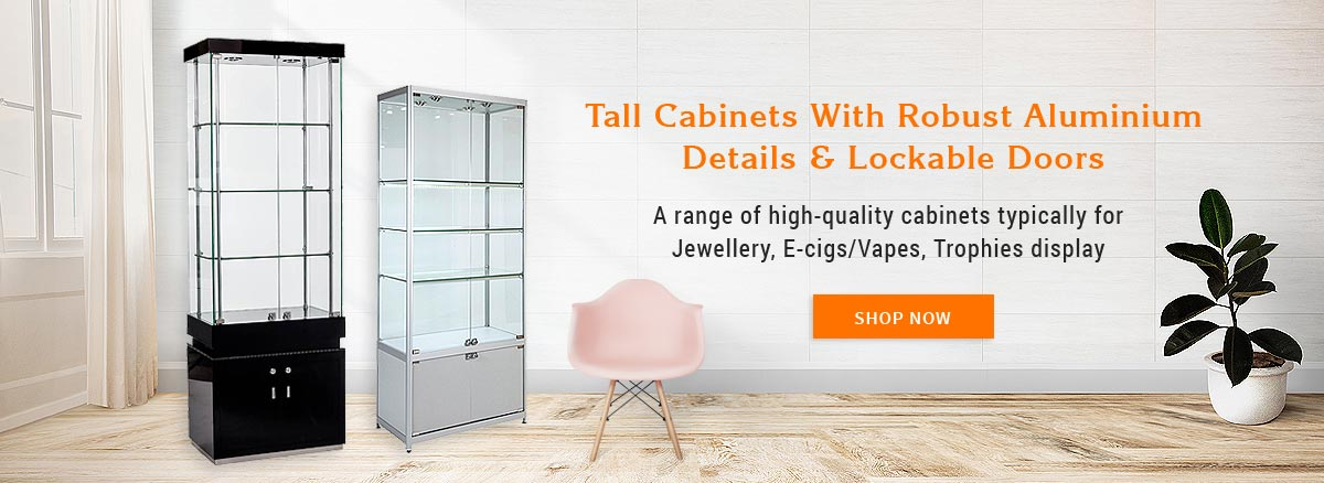 Tall Cabinets with Robust Aluminium Details & Lockable Doors